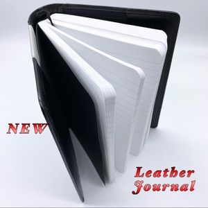 NEW-Black Leather Refillable 600 Ruled Pg. Journal